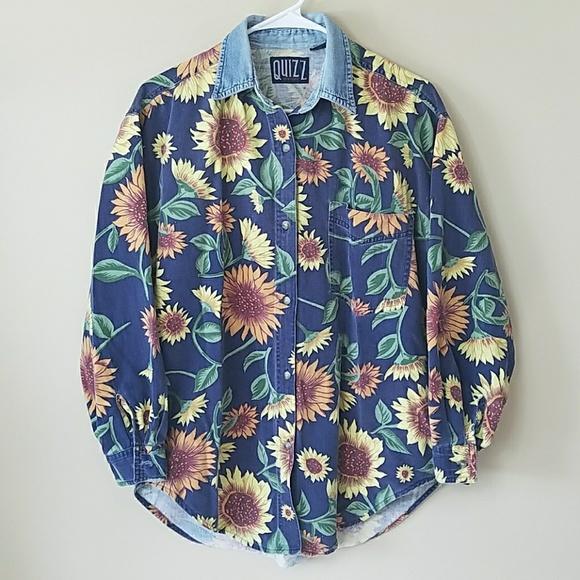 adbeb3423d3e8 Vintage 90s Sunflower Button Down Shirt